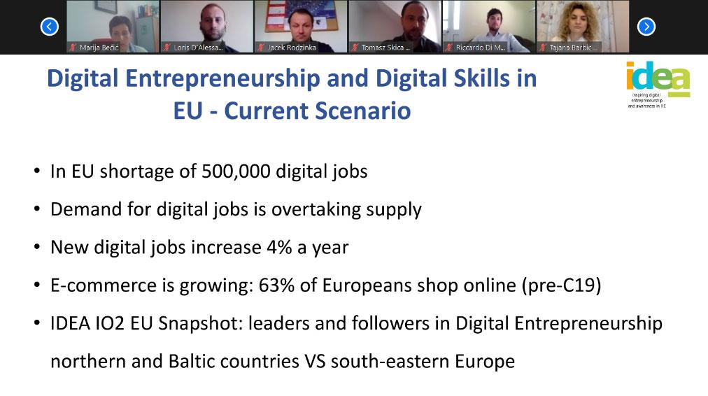 Inspirando el emprendimiento digital en la  educación superior: Internet Web Solutions ha participado en la reunión virtual del proyecto IDEA